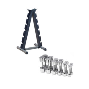 Chrome Dumbbell Set and Rack