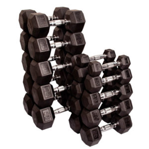 Rubber-Coated Hexagonal Dumbbells